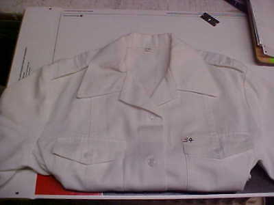 USN Navy Sea Cadet Officer Midshipman INST Male Dress White SS Shirt 34 loc#w91