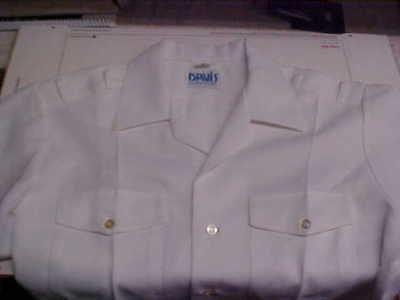 USN Navy Sea Cadet Officer Midshipman INST Male Dress White SS Shirt ML loc#w94