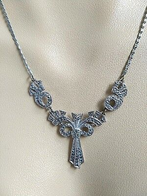 Vintage Jewellery Lovely Art Deco silver tone & real Marcasite signed necklace