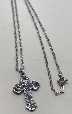 "Beautiful Vintage STERLING SILVER Fancy Cross 18"" Necklace"