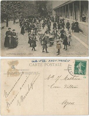 CPA David postcard enfants récré filles Institution Sainte Foy AGEN 47 [1206 R]