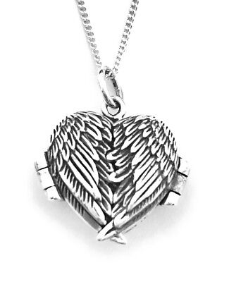 """Sterling Silver Angel Wings Heart Photo Locket Pendant on 18"""" Curb Chain"""