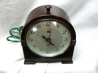 Art Deco Antique Smiths Sectric Mantel Clock Bakelite Case In Working Order Old