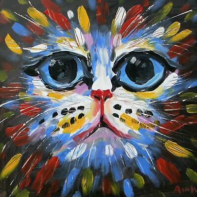 Oil Painting Art Knife decoration Abstract animal cat 40x40cm on wood frame