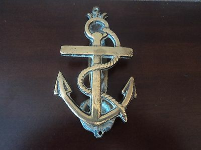 Vintage Marine/maritime Brass Cast Anchor And Rope Door Knocker(Ship/boat/barge)