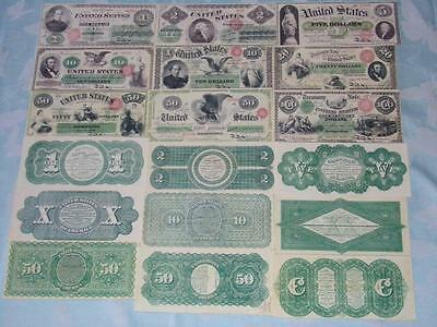 Starter Collection Of 9 Old Civil War Greenback Banknotes Copies Pls Read Descri