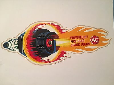 1968 Vintage Ac Fire Ring Spark Plugs Original Racing Decal Sticker Nos Large