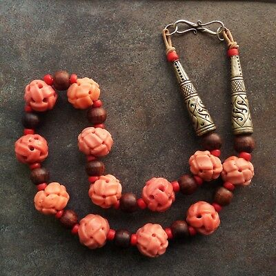 Rare Vintage Chinese Carved Salmon Coral Glass Beads Necklace