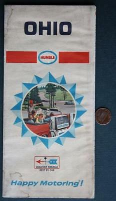 1968 Humble Oil Gas service station State of Ohio road map-Happy Motoring-NICE!