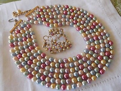 Fabulous Vintage 1950s FIVE Strand Colourful Glass Pearl Necklace & Brooch