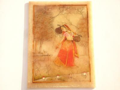 Stunning Fine Antique Indian Painting Oil On Alabaster Stone Woman Feeding Deer