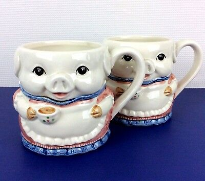Otagiri 3D Pig Mug Cup Vintage Hand Crafted Japan with Labels ~ Lot of 2