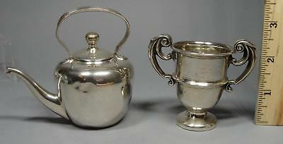 2 Antique Hallmarked Miniature English Sterling Silver Dollhouse Teapot & Trophy