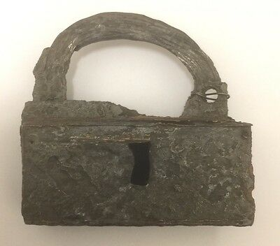 15TH-16TH CENTURY IRON PADLOCK (Circa 1500). RIVER FIND FROM THE NETHERLANDS.