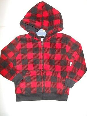 Toddler boys Fleece Hoodie Jacket Red Black Plaid Girls Outerwear 3T