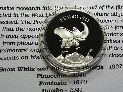 Dumbo Disney 1941 Movie Release Masterpieces 999 Silver Coin Very Rare 0907
