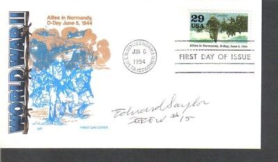 Doolittle Raider crew member Edward Saylor signed first day cover..