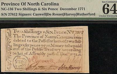 Unc 1771 North Carolina House Note Colonial Currency Note Nc-136 Pmg 64 Epq
