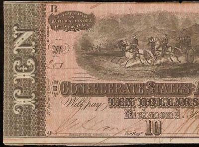1864 $10 Dollar Low Serial Number 200 Confederate States Currency Civil War Note
