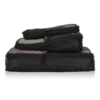 3pc Travel Packing Cubes Luggage Organizer Compression Pouch Durable Weekend Set