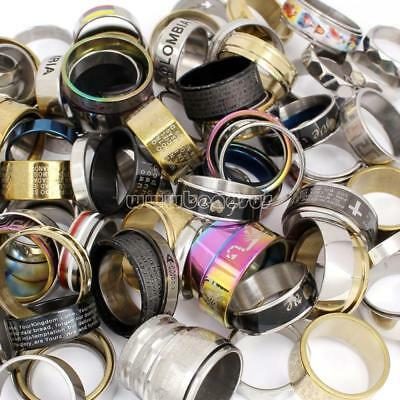 Lots 20PCs/Bag Mix Colors Stainless Steel Finger Ring Jewelry Size 5.5-10 Gifts