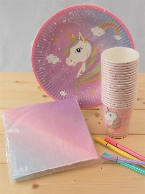 Brand New Girls Unicorn Birthday Party Set Childrens Tableware Up To 20 Guests
