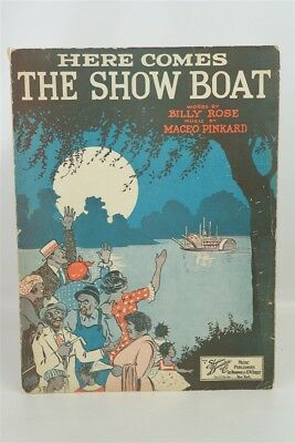 """Antique 1927 Black Americana Sheet Music Artwork """"Here Comes the Show Boat"""""""