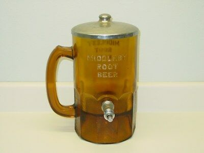 Vintage Large Middleby Root Beer Shaped Syrup Dispenser Deep Amber Root Beer Mug