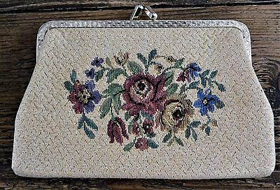 1960s Vintage Change Purse Gold Fabric with Floral Embroidery Decoration