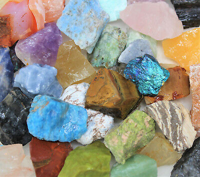 "1/2 lb Mixed Lot Large 1""-2"" Natural Rough Mineral Rocks Tumbler Tumbling Stones"