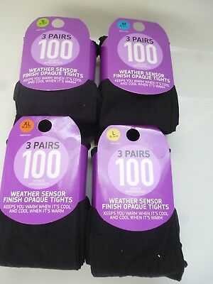 3 Pairs 100 Denier  Appearance Weather Sensor Finish Opaque With Lycra Tights