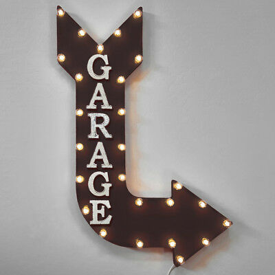 GARAGE arrow sign light led parts service vintage rusty present mancave VAC185