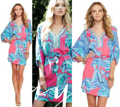 86105bb5db0687 $238 Lilly Pulitzer Wilda Chic Pink Sway Floral Beaded Neck Caftan Dress