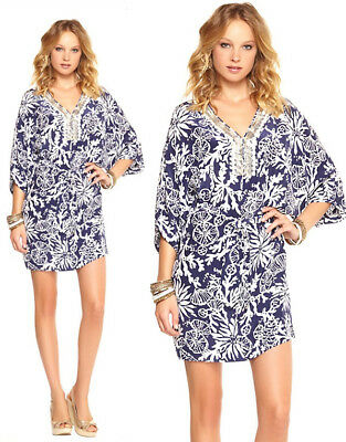 4f2eb31f116a5a $238 Lilly Pulitzer Wilda Bright Navy In The Groove Beaded Neck Caftan Dress
