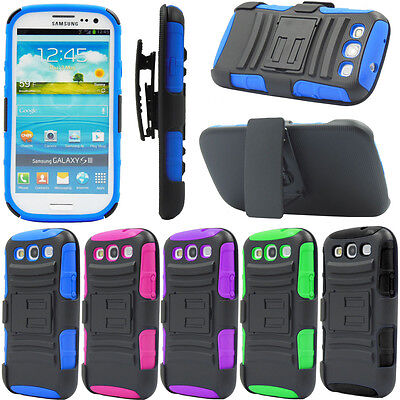 Shockproof High Impact Military Belt Clip Case For Samsung Galaxy S3 SIII i9300