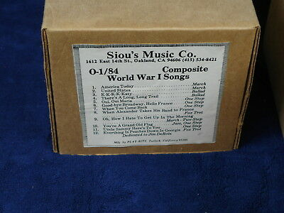 Play-Rite Siou's Nickelodeon Music Roll  - 0-1/84 World War I Songs WWI