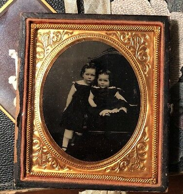 Lovely Antique Victorian Civil War Era 6th Plate Tintype Adorable Sisters