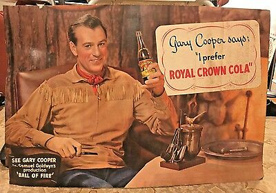 Gary Cooper Rare Large Royal Crown Cola Cardboard Sign Ball Of Fire 1941