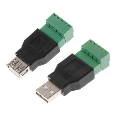 USB 2.0 Type A Female/Male to 5P Screw w/ Shield Plug Terminal Adapter Connector