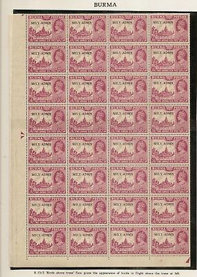 Burma 1945 'Birds Over Trees' Variety MNH SG42A
