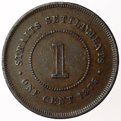 1873 Straits Settlements One Cent ~ KM#9 Victoria British Colonial