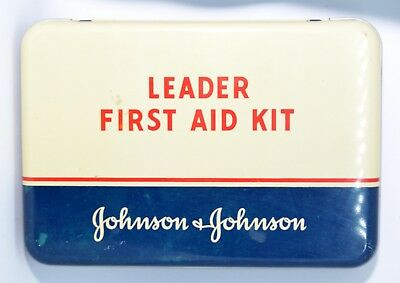 Vintage Johnson and Johnson Band Aid LEADER First Aid Travel Kit Tin 7.25 x 5