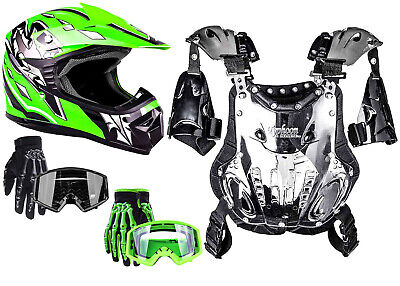 Youth Kids Chest Protector Helmet Green Gloves Goggles MX Offroad ATV Child