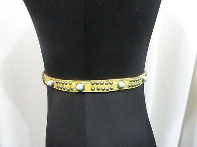 Vintage 50s Belt Leather Western Narrow Studs Rockabilly VLV Pinup Yellow