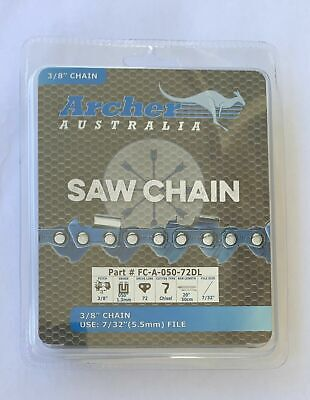 "6 Pack 20"" Archer Chainsaw Chain 3/8"" pitch FULL CHISEL .050 Gauge 72DL"