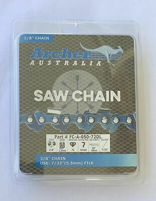 "10 Pack 20"" Archer Chainsaw Chain 3/8"" pitch FULL CHISEL .050 Gauge 72DL"