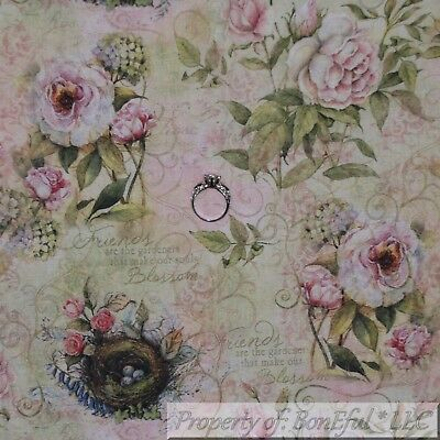 BonEful FABRIC FQ Cotton Quilt VTG Cream Pink Rose*Bud Flower Spring Bird Nest L