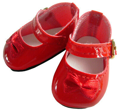 """For American Girl 14.5"""" WELLIE WISHER Doll Clothes Red Patent Satin Bow Shoes"""
