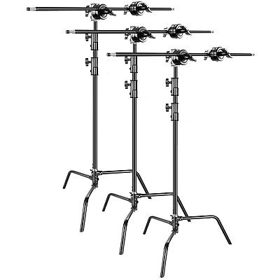 Neewer 3-pack Studio Heavy Duty Light Stand C Stand with Holding Arm, Grip Head