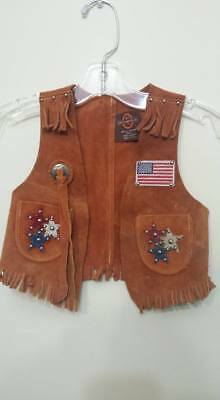 Vintage Leather Western Cowboy Vest John R Craighead USA  Child Sz Small